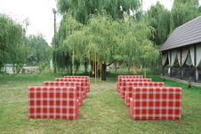 Free Rows Of Red Empty Chairs On A Lawn Stock Photography - 17365412