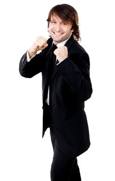 Free Young Funny Businessman In Boxing Pose Royalty Free Stock Images - 17365739