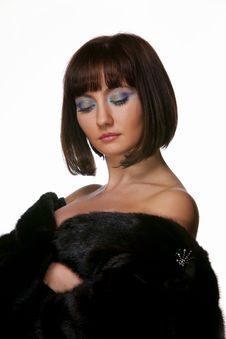 Free The Sexy Girl In A Fur Coat Royalty Free Stock Photography - 17365747