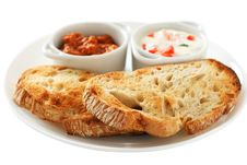 Free Bread With Sauces Stock Photography - 17366352