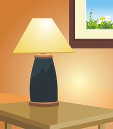 Reading Lamp And Picture. Fragment Of Interior Stock Photography