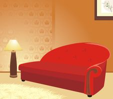 Red Sofa And Floor Lamp. Fragment Of Interior Royalty Free Stock Photography