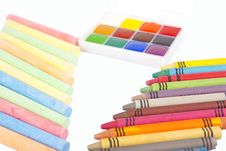 Free Colored Wax Pencils, Chalk And A Watercolor Stock Image - 17366501