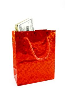 Free Dollars In A Red Bag Royalty Free Stock Photos - 17366528