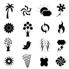 Weather Nature Icon Set Royalty Free Stock Photos