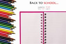 Free Pink Notebook And Color Pencils Royalty Free Stock Photo - 17367155