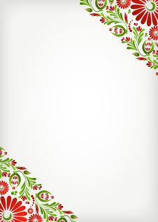 Free Green Floral Background With Red Flowers Royalty Free Stock Photos - 17367348