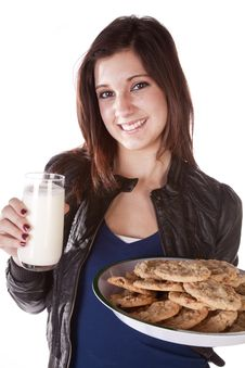 Free Handing Milk And Cookies Stock Photos - 17367393