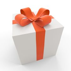 Free Gift Box With A Red Bow Stock Images - 17367734