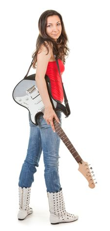 Free Girl With A Guitar Royalty Free Stock Photography - 17367937