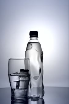 Glass Of Cold Mineral Water Stock Photos