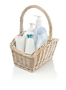 Free Toiletries In Basket Stock Image - 17369621