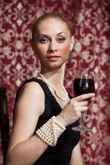 Free Woman With Wine Stock Photography - 17369832
