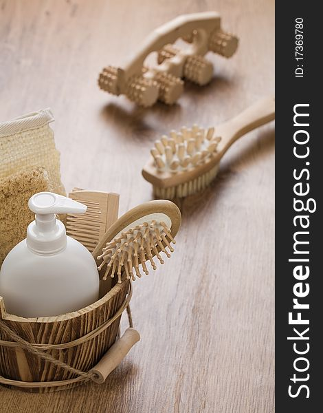 Wooden objects on wooden background