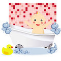 Free Baby Girl Having A Bubble Bath Stock Photos - 17372553