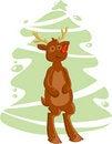 Free Cartoon Deer And Christmas Tree Royalty Free Stock Photos - 17373738