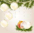 Free Gold, Red End Transparent Christmas Ball Royalty Free Stock Photography - 17374067