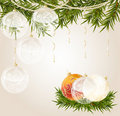 Free Gold End White Transparent Christmas Ball Royalty Free Stock Photography - 17374287