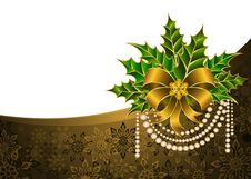 Free Christmas Golden Bow Stock Image - 17370081