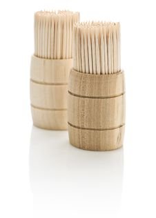 Two Barrels With Toothpicks Stock Images