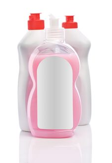 Free White Bottles With Red Lids And Pink Cream Royalty Free Stock Photos - 17372308