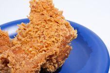 Fried Chicken Dish Dark Blue. Stock Photo