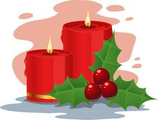 Free Red Christmas Candles And Holly Stock Photos - 17373693