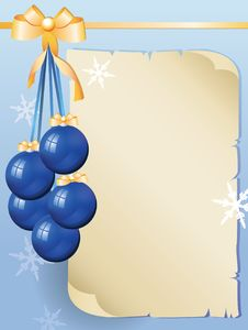 Greeting Card And Blue Balls Royalty Free Stock Photography