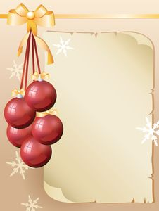 Free Greeting Card And Red Christmas Balls Stock Image - 17373701