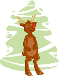 Free Cartoon Deer And Christmas Tree Royalty Free Stock Photos - 17373738