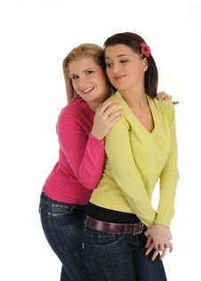 Free Two Pretty Girl Friends Hugging And Laughing Stock Photo - 17373800