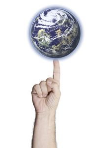 Free Earth Balanced On A Finger Royalty Free Stock Photography - 17373947