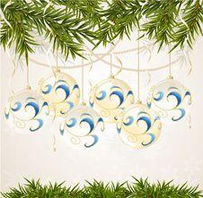 Blue, White End Transparent Christmas Ball Stock Photo