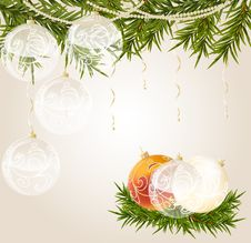 Gold End White Transparent Christmas Ball Royalty Free Stock Photography