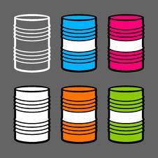 Free Six Steel Barrels,  Illustration Stock Photography - 17374462