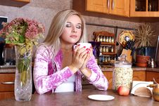 Free Woman Sniffing The Scent Cup Of Hot Drink Stock Photos - 17374793
