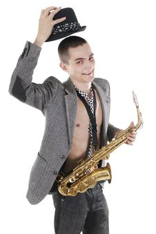 The Young Jazzman Takes Off A Hat Royalty Free Stock Image