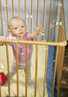 Bubbles And Baby Stock Images