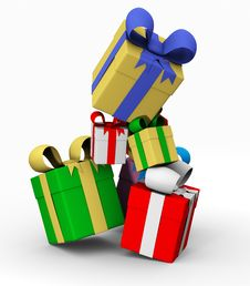 Free Colored Gift Boxes Royalty Free Stock Images - 17375709