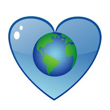Free Earth Symbol With Blue Heart Royalty Free Stock Image - 17376186