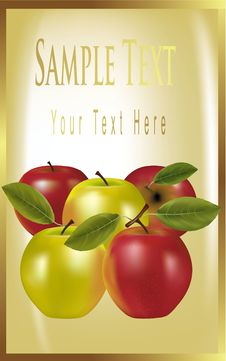 Gold Label With Red And Green Apples. Royalty Free Stock Images