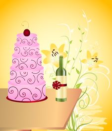 Wine Bottle And Cake Royalty Free Stock Photography