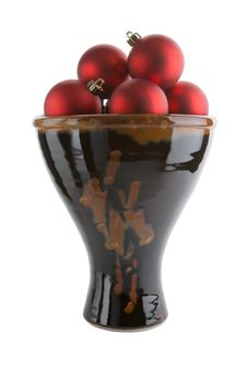 Ceramic Vase With Red Christmas Balls Royalty Free Stock Photo