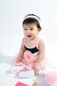 Free Kid In Pink Dress Stock Image - 17378161