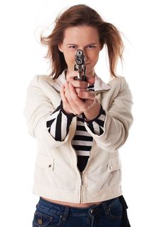 Smiling Woman Aiming With Gun Stock Image