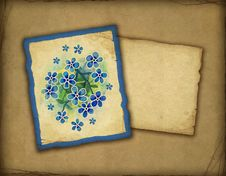 Free Old Card With Blue Flowers Royalty Free Stock Images - 17378579