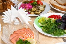 Free Table For A Banquet. Royalty Free Stock Photography - 17378867