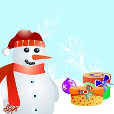 Free Snowman And Gift Vector Royalty Free Stock Photography - 17379047