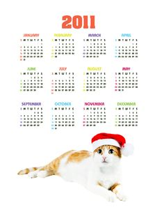Free Vertical Color Calendar For 2011 Year Stock Images - 17379264
