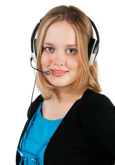 Free Woman With Headphones And Microphone Stock Images - 17379964